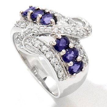 122-395 - Gem Treasures Sterling Silver 1.40ctw Iolite & White Zircon Band Ring