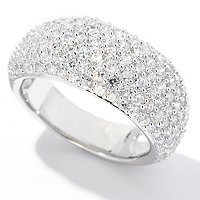 BLTA SS/PLAT DOMED PAVE GRADUATED RING