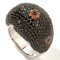 SS LARGE DOME BLK SPINEL RING WITH MOCHA ZIRCON FLOWERS