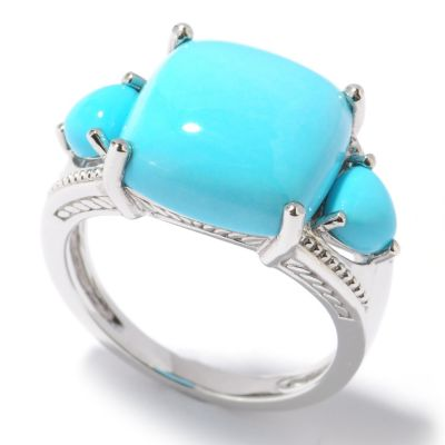122-412 - Gem Insider Sterling Silver Sleeping Beauty Turquoise Three-Stone Ring