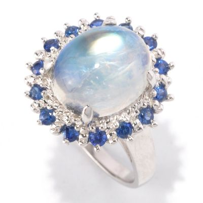 122-422 - Gem Insider Sterling Silver 12 x 10mm Moonstone & Sapphire Halo Ring