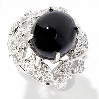 SS CAB BLACK TOURMALINE AND WHITE TOPAZ RING