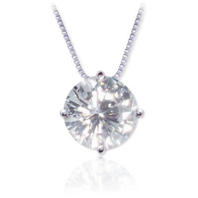 122-763 - 14K White or Yellow Gold 1.00ct DEW Moissanite Pendant w/ Chain