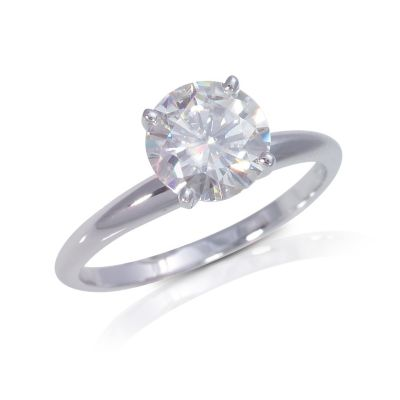 122-764 - 14K White Gold 1.00ct DEW Moissanite Solitaire Ring
