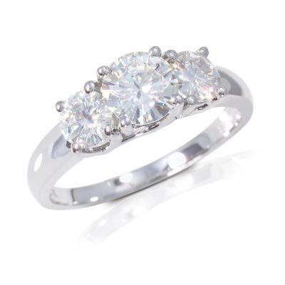 122-767 - 14K White Gold 1.26ct DEW Moissanite Three Stone Ring