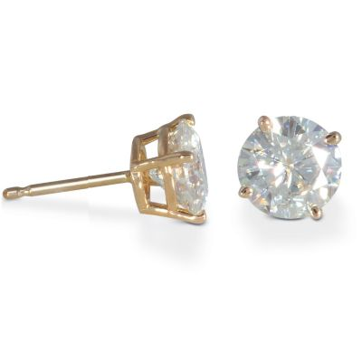 122-775 - 14K White or Yellow Gold 2.00ct DEW Moissanite Stud Earrings