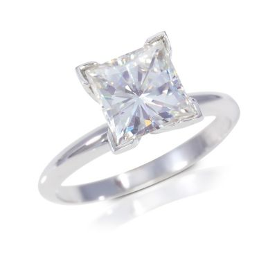122-777 - 14K White Gold 2.10ct DEW Moissanite Square Brilliant Cut Solitaire Ring