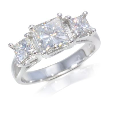 122-783 - 14K White Gold 3.30ct DEW Moissanite Three-Stone Ring