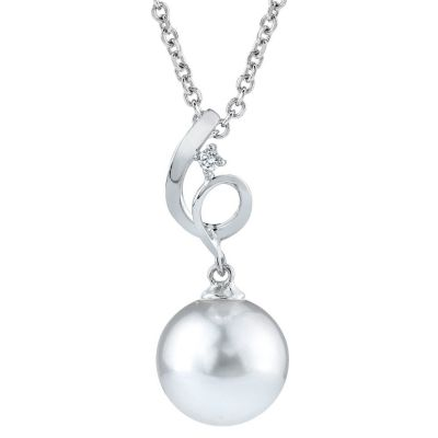 122-898 - 14K White Gold AAA Quality 9mm Cultured South Sea Pearl & Diamond Flourish Pendant w/ Chain