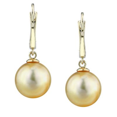 122-933 - 14K AAA Quality 9.0mm Cultured Golden South Sea Pearl Earrings