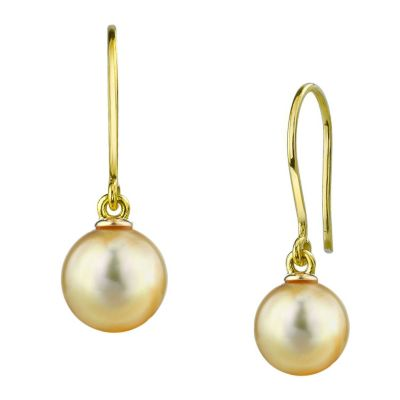 122-935 - 14K White or Yellow Gold AAA Quality 9mm South Sea Cultured Pearl Earrings