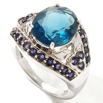 124-829 - Gem Insider Sterling Silver 4.85ctw Blue Fluorite & Iolite Eye Ring