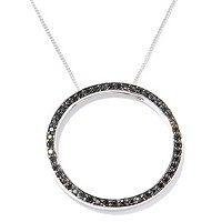 SS CIRCLE BLK SPINEL PEND WITH CHAIN