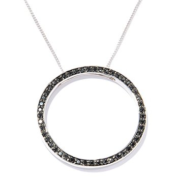 124-839 - Gem Treasures Sterling Silver 0.98ctw Black Spinel Circle Pendant w/ Chain