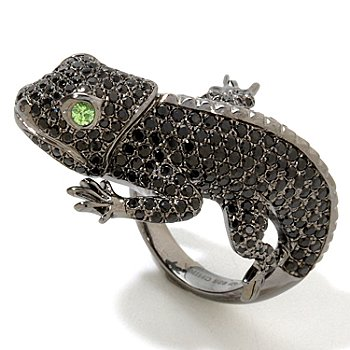 124-843 - Gem Treasures Sterling Silver 3.87ctw Multi Gemstone Lizzard Ring
