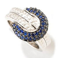 BALISSIMA BY EFFY SS CIRCLE PAVE BLUE SAPP RING