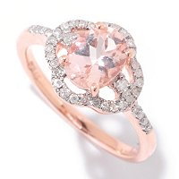 14K RG OVAL MORGANITE RING WITH DIAMOND