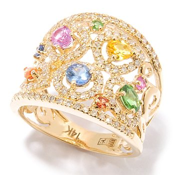 124-852 - EFFY 14K Gold 1.50ctw Multi Color Sapphire & Diamond Ring