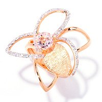 SS/18K ROSE VERMEIL RING MORGANITE & WHIT SAPH FLOWER