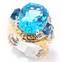 SS/PALL RING SWISS BLUE TOPAZ w/ LONDON BLUE TPZ & WHT SAPH