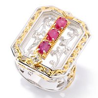 SS/PALL RING RUBY & ROCK CRYSTAL