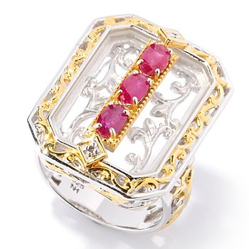124-874 - Gems en Vogue II 20 x 14mm Emerald Cut Rock Crystal Quartz & Ruby Ring