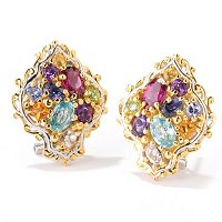 "SS/PALL EAR ""JARDIN DE BIJOUX"" MULTI GEM FANCY BUTTON w/ OMEGA BACKS"