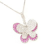 SS DOUBLE BUTTERFLY WITH PINK SAPP WHITE SAPP AND CHAIN