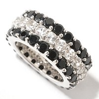 SS BLK SPINEL AND WHITE TOPAZ ETERNITY BAND