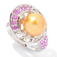 SS 10-11mm GOLDEN SOUTH SEA & PINK SAPPHIRE RING