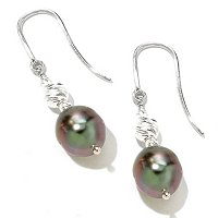 SS 9-10mm TAHTIAN PEARL SPARKLE BEAD EARRINGS