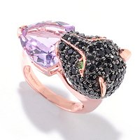 SS/18K ROSE VERMEIL BLK SPINEL, TSAV & TRILLION PINK AMY PANTHER