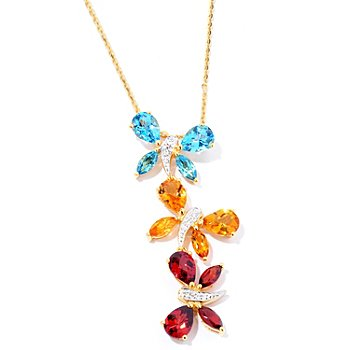 124-906 - NYC II 5.97 Multi Gemstone Butterfly Pendant w/ 18'' Chain