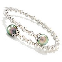 SS 9-10mm TAHITIAN PEARL SPARKLE BEAD BANGLE