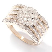 14K YG DIAMOND FLOWER CLUSTER BAND