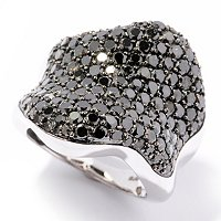 SS WAVE BLK DIAMOND RING