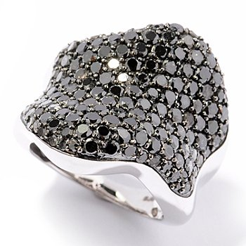 124-915 - Diamond Treasures Sterling Silver 4.40ctw Black Diamond Wave Design Ring