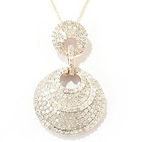 14K YG PAVE MULTI LAYER CIRCLE PEND WITH CHAIN