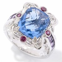 SS EXOTIC CUSHION CUT COLOR CHANGE FLUORITE RING