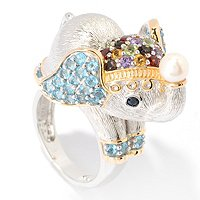 SS MULTI GEMSTONE ELEPHANT RING