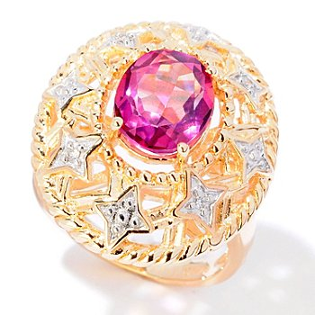 124-937 - NYC II 2.29ctw Pink Quartz & Diamond Two-tone Ring