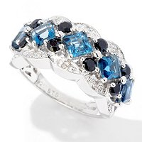SS/P RING PRINCESS LONDON BLUE TOPAZ w/ BLK SPINEL & DIA