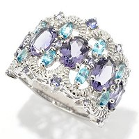 SS/PLAT RING BLUE AMETHYST w/ IOLITE & SWISS BLUE TPZ BAND