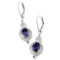 SS/PLAT EAR BLUE AMETHYST & IOLITE DROP