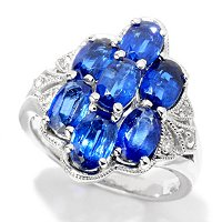 SS/PLAT RING KYANITE & WHT ZIRCON