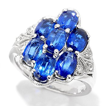 124-942 - NYC II 3.82ctw Blue Kyanite & White Zircon Ring
