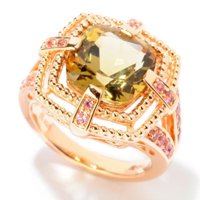 124-943 - NYC II 3.59ctw Olive Quartz & Pink Tourmaline Ring