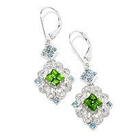 SS/PLAT EAR CHROME DIOPSIDE & LONDON BLUE TOPAZ