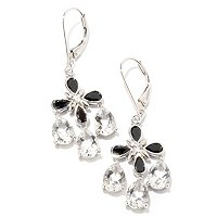 SS/PLAT EAR CRYSTAL QUARTZ w/ BLACK SPINEL & WHT ZIRCON