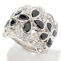 SS/PLAT RING BLACK SPINEL & WHT ZIRCON WIDE BAND